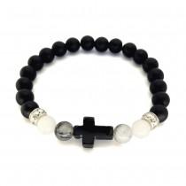 Matinio onikso juoda vyriška apyrankė su kryžiumi