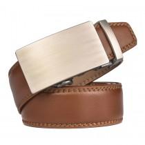 Diržas iš rudos odos vyrams su stilinga sagtimi