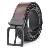 Įdomaus dizaino odinis rudos-juodos spalvos dvipusis vyriškas diržas