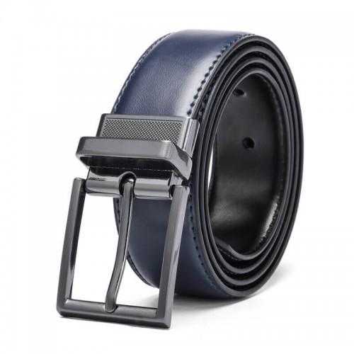 Dvipusis mėlynos-juodos spalvos klasikinis diržas vyrui