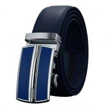 Vyriškas mėlynos spalvos diržas iš natūralios odos su automatine sagtimi