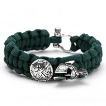 """Vyriška apyrankė """"Spartan"""" supinta iš žalios spalvos """"paracord"""" virvutės"""