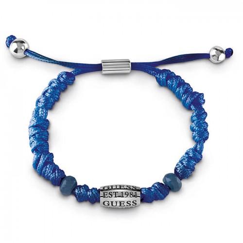 """Mėlynos spalvos """"GUESS"""" vyriška universalaus dydžio apyrankė iš medžiaginės virvelės"""