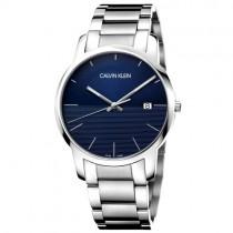 """Plieninis """"CALVIN KLEIN"""" vyriškas laikrodis su mėlynu ciferblatu"""