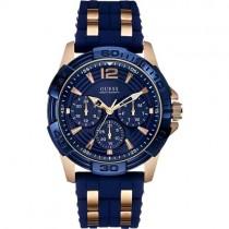 """Stilingas mėlynos spalvos vyriškas """"GUESS"""" laikrodis su aukso spalvos detalėmis"""