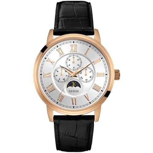 """""""GUESS"""" laikrodis vyrui su šviesiu ciferblatu ir aukso spalvos detalėmis"""