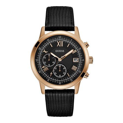 """Juodos ir aukso spalvos """"GUESS"""" laikrodis vyrui su dviem chronometrais"""