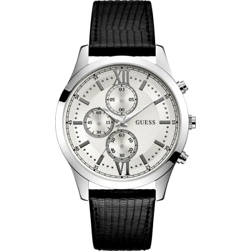 """Sidabro spalvos laikrodis """"GUESS"""" su juodu odiniu dirželiu"""