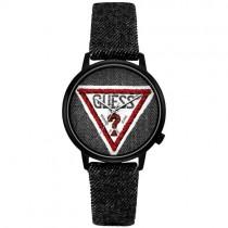 """Vyriškas """"GUESS"""" laikrodis su medžiaginiu dirželiu ir ryškiu logotipu ciferblate"""