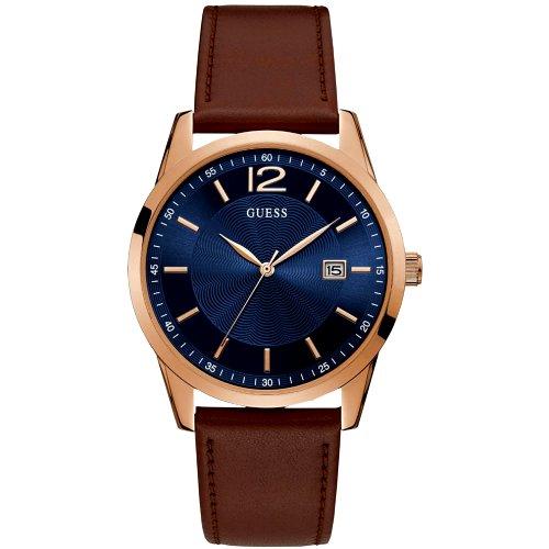 """Laikrodis vyrui """"GUESS"""" su odiniu rudu dirželiu ir aukso spalvos detalėmis"""