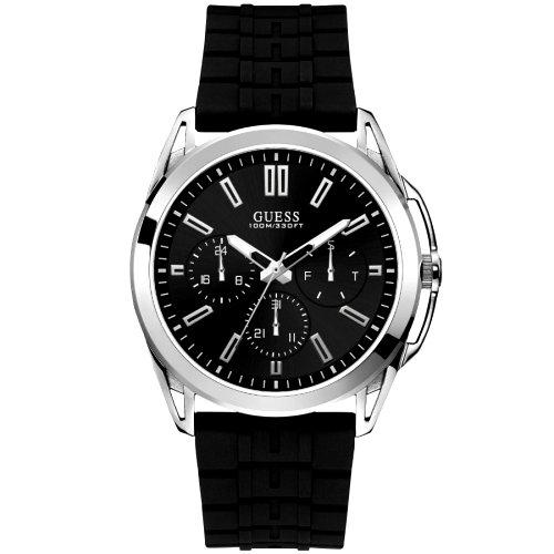 """Sidabro ir juodos spalvos """"GUESS"""" laikrodis vyrams su silikoniniu dirželiu"""