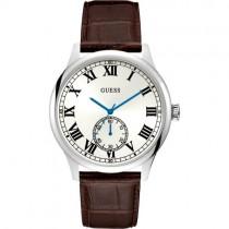 """""""GUESS"""" laikrodis vyrui su rudos spalvos odiniu dirželiu ir chronometru"""
