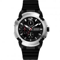 """Juodas """"GUESS"""" laikrodis vyrams su silikoniniu dirželiu"""