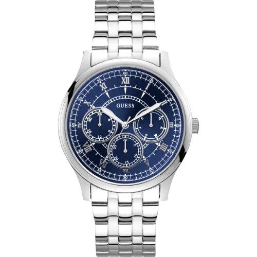 """Sidabro spalvos vyriškas laikrodis """"GUESS"""" su mėlynu ciferblatu"""