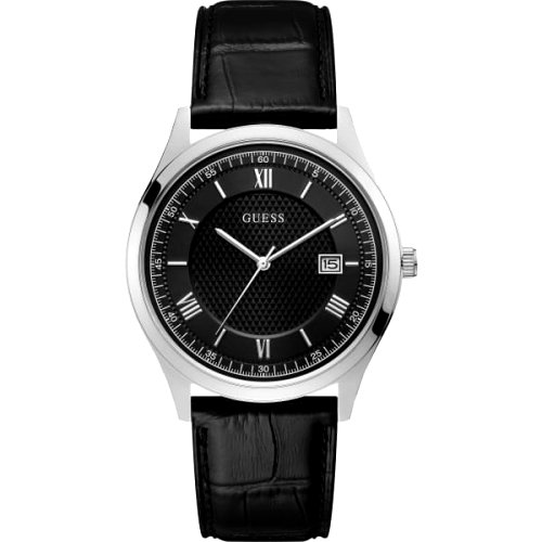 """""""GUESS"""" laikrodis vyrui su juodu odiniu dirželiu"""