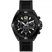 """Juodos spalvos vyriškas """"GUESS"""" laikrodis su silikoninine apyranke"""