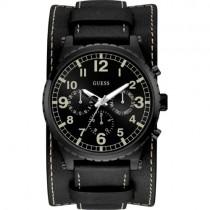 """Juodas """"GUESS"""" laikrodis vyrams iš natūralios odos"""