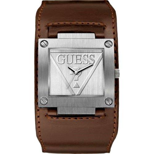 """Vyriškas """"GUESS"""" laikrodis su storesne rudos spalvos odine apyranke"""