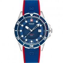 "Vyriškas ""SWISS MILITARY"" laikrodis su mėlyna silikonine apyranke"