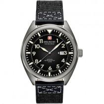 """Vyriškas """"SWISS MILITARY"""" laikrodis su juodu medžiaginiu dirželiu"""