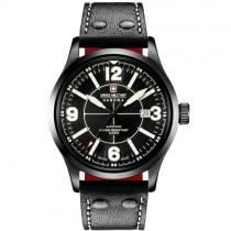 """Vyriškas """"SWISS MILITARY"""" laikrodis su juodu odiniu dirželiu"""