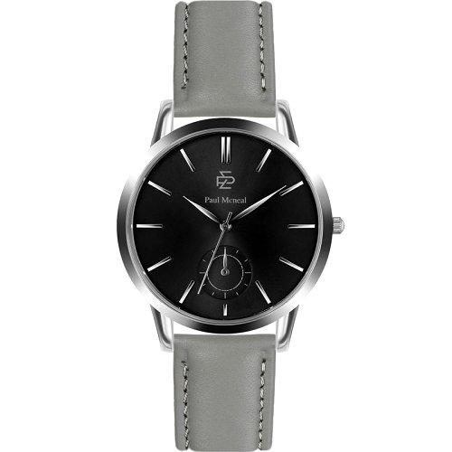 """Vyriškas """"PAUL MCNEAL"""" laikrodis su pilku odiniu dirželiu"""