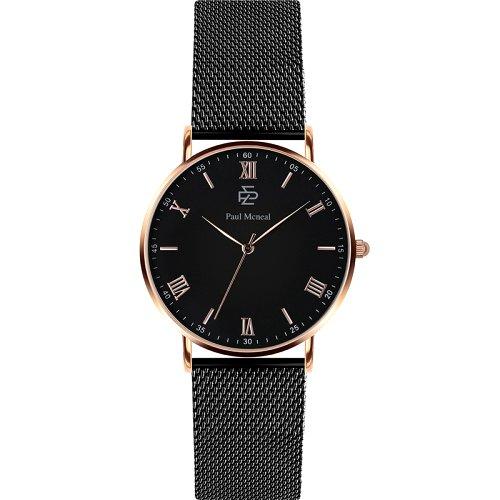 """Vyriškas """"PAUL MCNEAL"""" laikrodis su juodos spalvos nerūdijančio plieno dirželiu"""