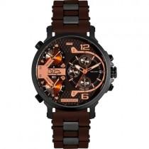 """Vyriškas """"LEE COOPER"""" laikrodis su rudu silikoniniu dirželiu"""