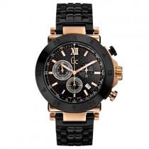 """Vyriškas """"GC"""" laikrodis su juodos spalvos nerūdijančio plieno dirželio"""