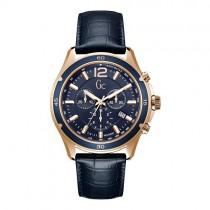 """Vyriškas """"GC"""" laikrodis su tamsiai mėlynu odiniu dirželiu"""