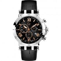 """Vyriškas """"GC"""" laikrodis su juodu odiniu dirželiu"""