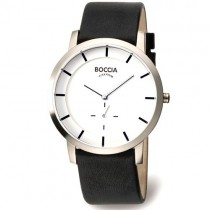 "Vyriškas ""BOCCIA TITANIUM"" laikrodis su baltu ciferblatu"