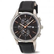 """Vyriškas """"BOCCIA TITANIUM"""" laikrodis su tamsiai rudu odiniu dirželiu"""