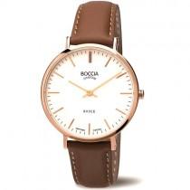 """Vyriškas """"BOCCIA TITANIUM"""" laikrodis su rudu odiniu dirželiu"""