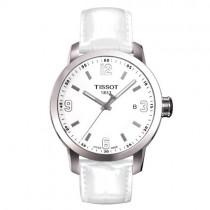"""Vyriškas '""""TISSOT"""" laikrodis su baltu odiniu dirželiu"""