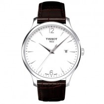 """Vyriškas '""""TISSOT"""" laikrodis su rudu odiniu dirželiu"""