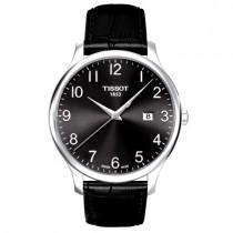 """Vyriškas '""""TISSOT"""" laikrodis su juodu odiniu dirželiu"""