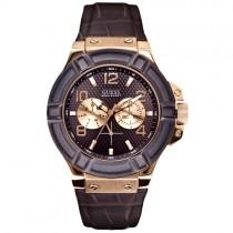 """Vyriškas rudas """"GUESS"""" laikrodis su aukso spalvos detalėmis"""
