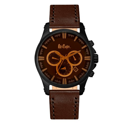 """Vyriškas """"LEE COOPER"""" laikrodis su tamsiai rudu odiniu dirželiu"""