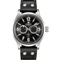 """Vyriškas laikrodis """"SWISS MILITARY"""" su juodu natūralios odos dirželiu"""