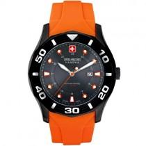"Vyriškas laikrodis ""SWISS MILITARY"" su oranžine silikonine apyranke"