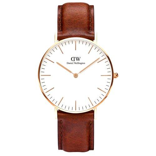 """Klasikinis """"DANIEL WELLINGTON"""" vyriškas laikrodis su rudu odiniu dirželiu"""