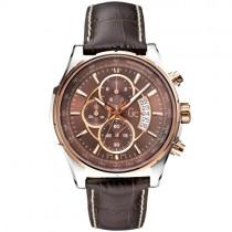 """Vyriškas laikrodis """"GC"""" su rudu odiniu dirželiu"""
