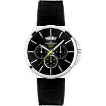 """Juodas vyriškas """"JACQUES LEMANS"""" su juodu ciferblatu laikrodis"""