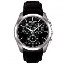 """Vyriškas klasikinis '""""TISSOT"""" laikrodis su juodu natūralios odos dirželiu"""