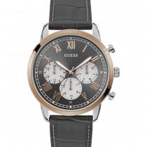 """Vyriškas laikrodis """"GUESS"""" su pilkos spalvos odiniu dirželiu"""