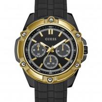"""Vyriškas juodos bei aukso spalvos """"GUESS"""" su silikoniniu dirželiu laikrodis"""