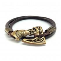 Ruda vyriška odinė apyrankė su bronziniu kirviu