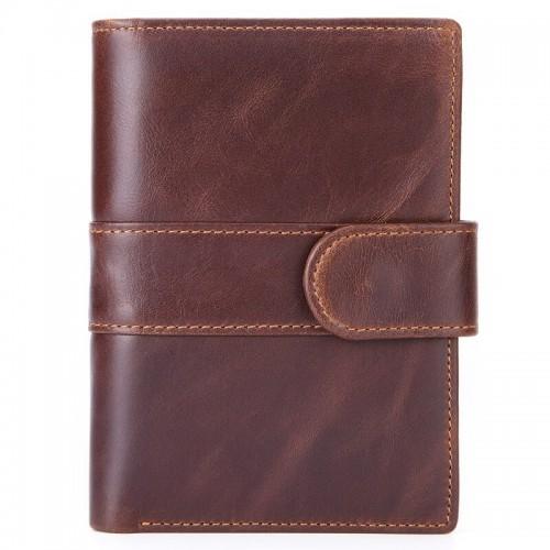 Užsegama ruda piniginė iš odos su galine kišenėle