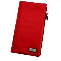 Vyriška odinė raudonos spalvos piniginė su užsegimu